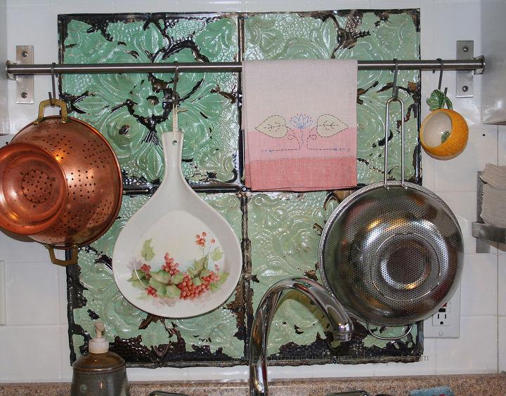 make a fresh back splash with old ceiling tiles, kitchen backsplashes, tiling, Above the sink