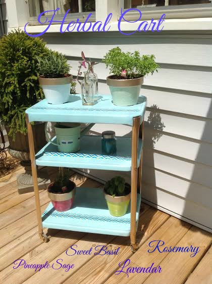 herbal cart, flowers, gardening, outdoor furniture, painted furniture, repurposing upcycling