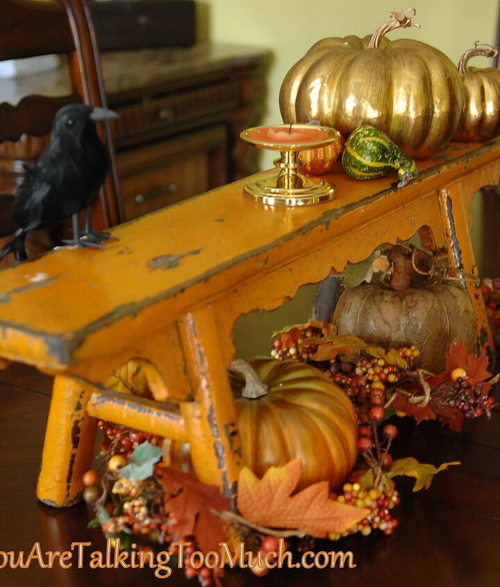 Found this chippy bench at a yard sale. Fun for fall!