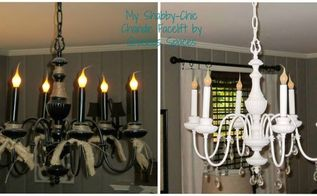 shabby chic chandelier makeover, lighting, painting, repurposing upcycling, shabby chic, before and after