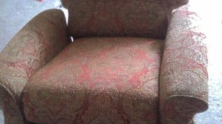 recovered chair using drop cloth fabric, painted furniture, reupholster, BEFORE