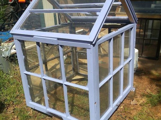 flowerbed greenhouse my husband and i made, diy, gardening, I then painted it a purple I think they look great with bright happy colors