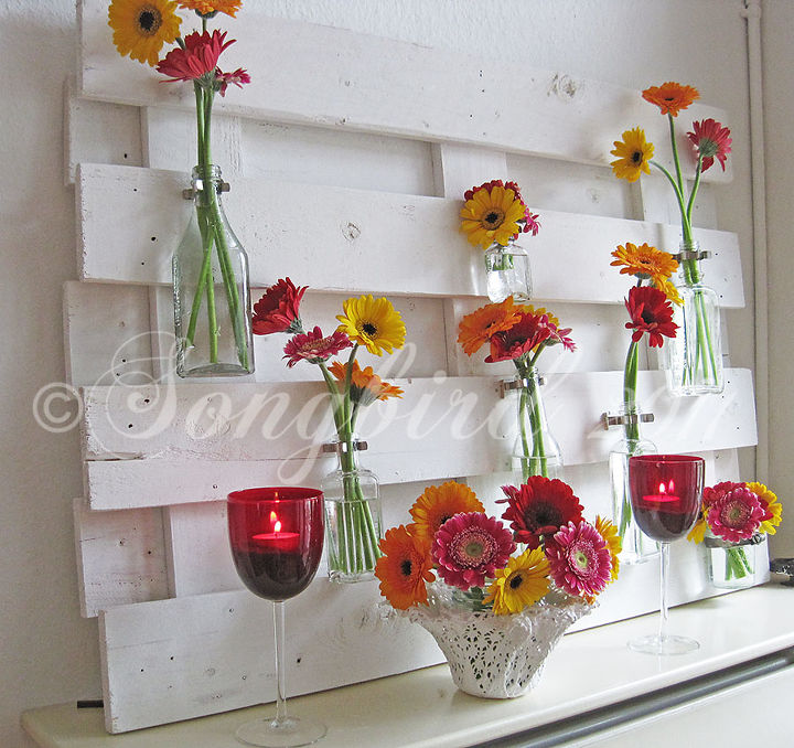lots of variations possible with this pallet wood mantel decor, diy, home decor, how to, pallet, repurposing upcycling, So easy to give it a completely different look by just changing out the flowers and a few accessories