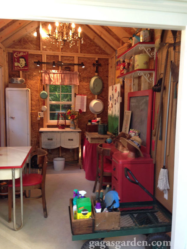 a teacher s dream garden shed, curb appeal, gardening, outdoor living, A cart to transport tools and paraphernalia around the yard