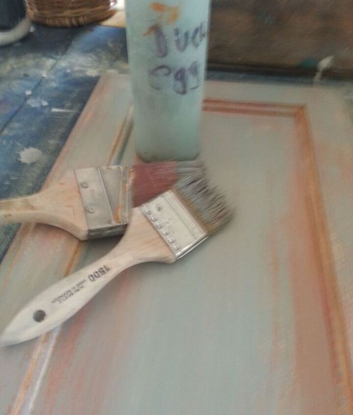 Step 4- paint with two size brushes Provence.