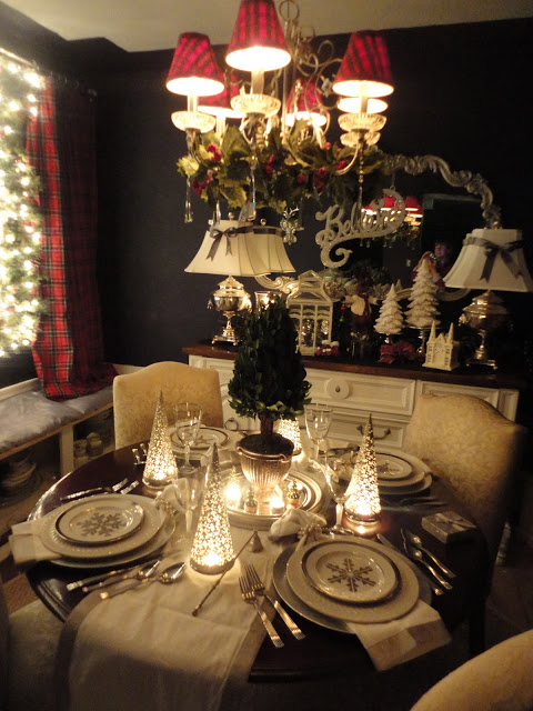Silver and white and tartan creates a traditional table.
