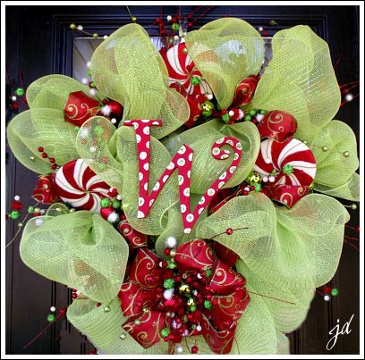 christmas mesh wreath, christmas decorations, crafts, seasonal holiday decor, wreaths, Christmas mesh wreath Fun and jolly For the tutorial on this project please visit