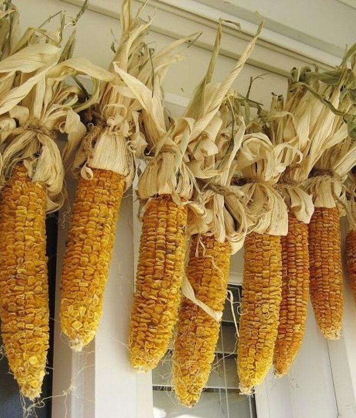 My homemade corn garland hangs over the front door