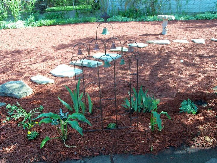 Some of the first plantings- irises and others given to me by a friend