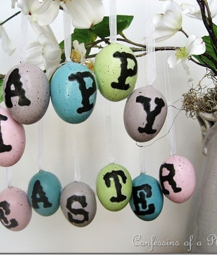 These Pottery Barn inspired decoupage eggs are super easy! The graphic for the letters is included on my blog.