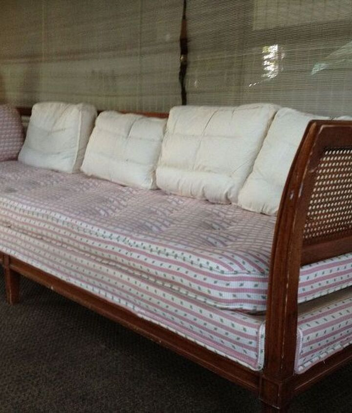Found this incredible vintage Pottery Barn solid wood sofa w/ all down feathers, for $30 on Craiglist. Woohoo! Replaced covers to match decor,
