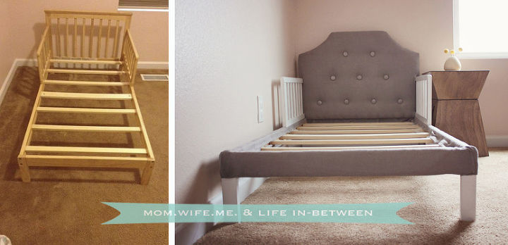 no sew tufted headboard upholstered toddler bed, diy, painted furniture, repurposing upcycling