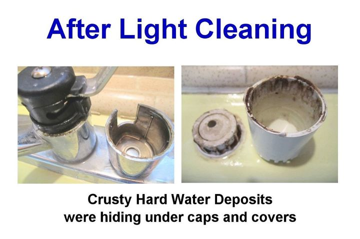 After Light Cleaning: Yes indeed!  As expected - there were crusty hard water deposits under the faucet cover, and as a bonus - I found crusties under the dishwasher machine's overflow cap.