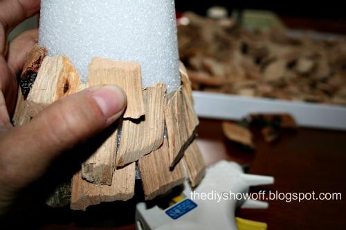 hot glue wood chips to Styrofoam cone