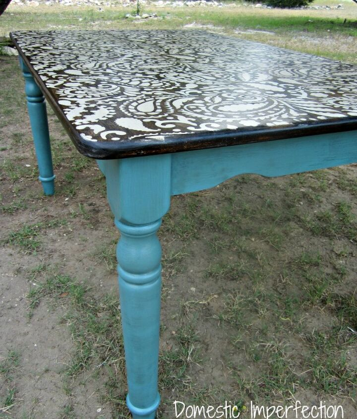 "Paisley table with ""dirty cowboy"" turquoise legs"