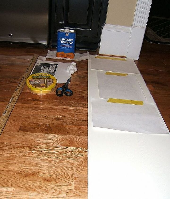 Chalk painted table leaf and supplies: Lacquer Thinner, Frog Tape delicate, ruler, toner based graphics, scissors, cotton balls, hooks to hang