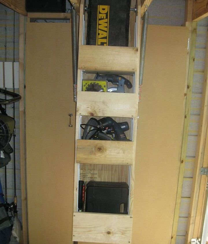 """Front view of """"lift away"""" storage."""
