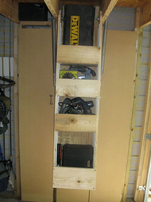 "Front view of ""lift away"" storage."