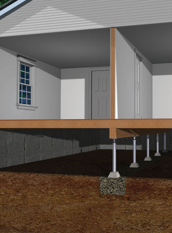 This image illustrates how SmartJack works to stabilize sagging crawl space floors, and most of the time even lift them back into the original position.