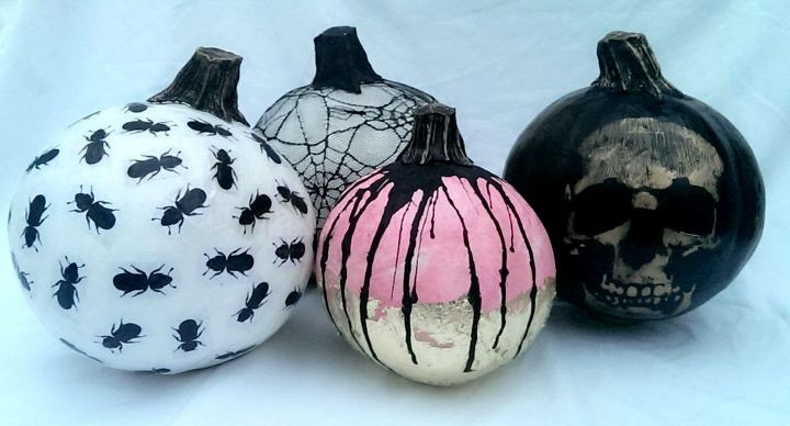 finished decorated paper mache pumpkins for halloween