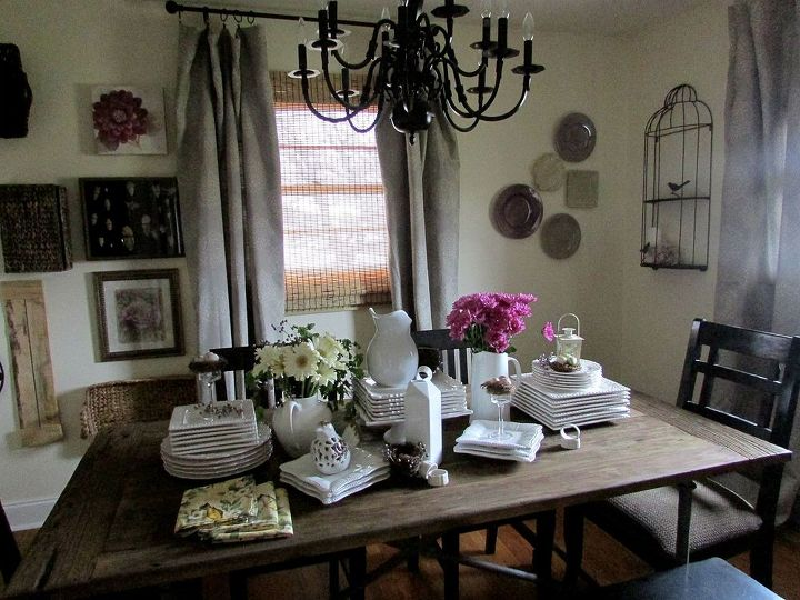 barnwood butterflies and birds tablescape, home decor