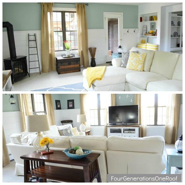 Our coastal cottage family room {multipurpose room}