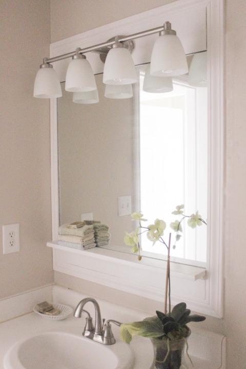 100 guest bath makeover w a pottery barn inspired bathroom mirror, bathroom, diy renovations projects