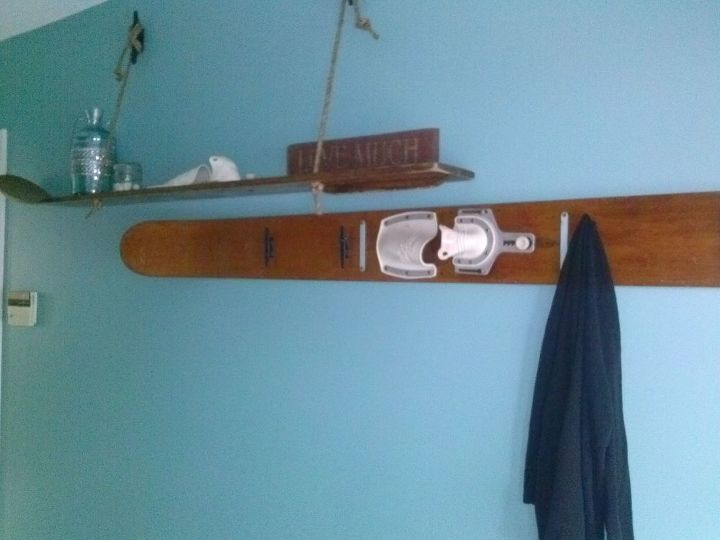 clever upcycle of vintage water skis, home decor, repurposing upcycling