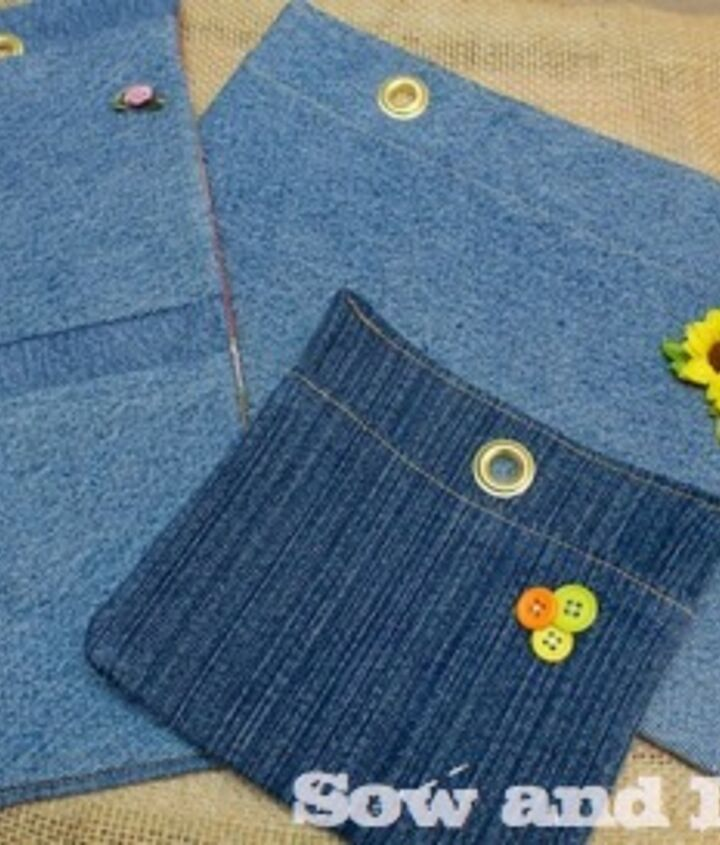 diy plant pockets, crafts, gardening, repurposing upcycling, Embellish them with buttons sew on ribbons or use fabric paint to add lettering like herbs etc