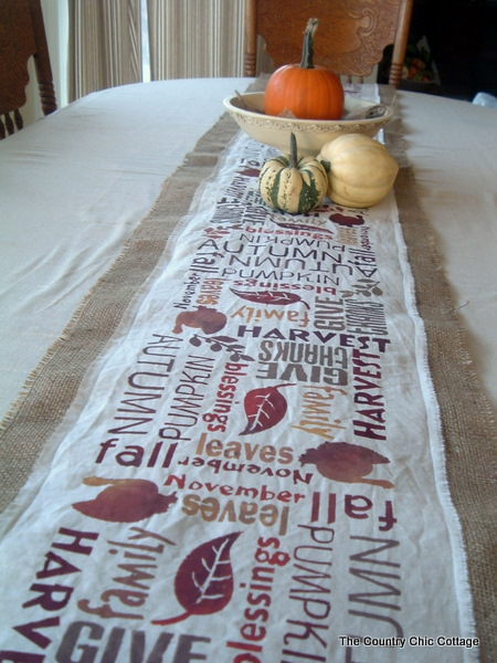 This one is well worth the effort as your guests will love it!  http://www.thecountrychiccottage.net/2011/10/subway-art-burlap-table-runner-point-of.html