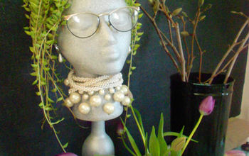 diy garden head project, flowers, gardening, succulents, I added Betty s Bling with some old necklaces glasses and even some rhinestone earrings they were easy to stick into the side of her head Betty was born She sits on top of the buffet in my dining room Thanks for reading