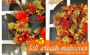 re vamping a wreath from drab to fab with dollar store leaves, crafts, wreaths, 5 10 minutes a FAB fall wreath makeover