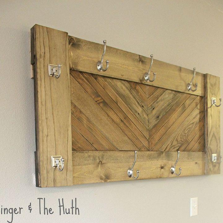 diy herringbone wall coat rack, diy, how to, storage ideas, woodworking projects