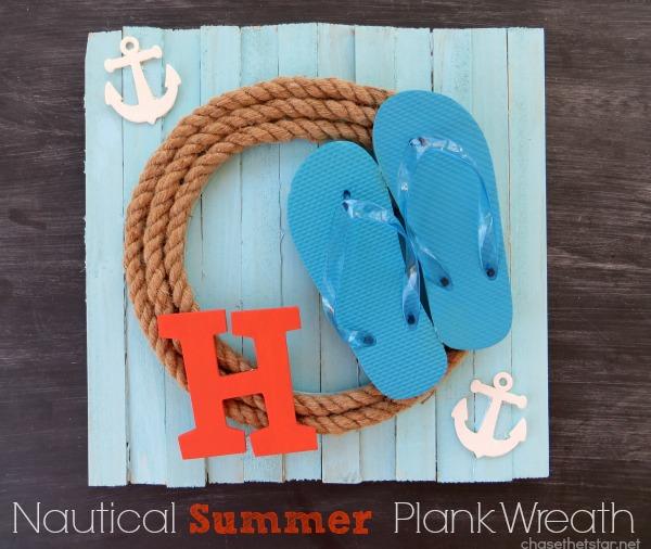 A fun Nautical Summer Plank Wreath!
