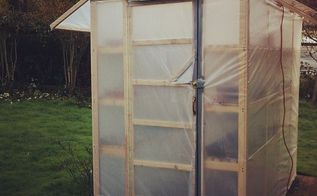 150 greenhouse, diy, gardening, homesteading, Here is the outside of the completed greenhouse It not rests on our back porch We have a light we run into it but so far we havent needed to use it