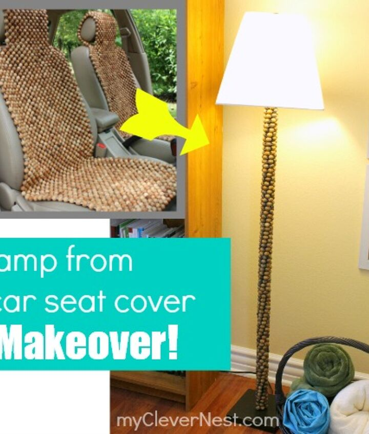 Lamp makeover using wooden beads from a car seat :)  http://www.myclevernest.com/2013/03/car-seat-into-lamp-extreme-recycling.html#