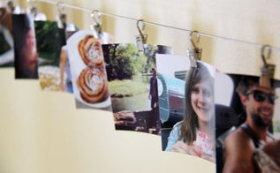 ikea hack curtain wire to photo display, home decor, repurposing upcycling, I really like the look of square shaped photos