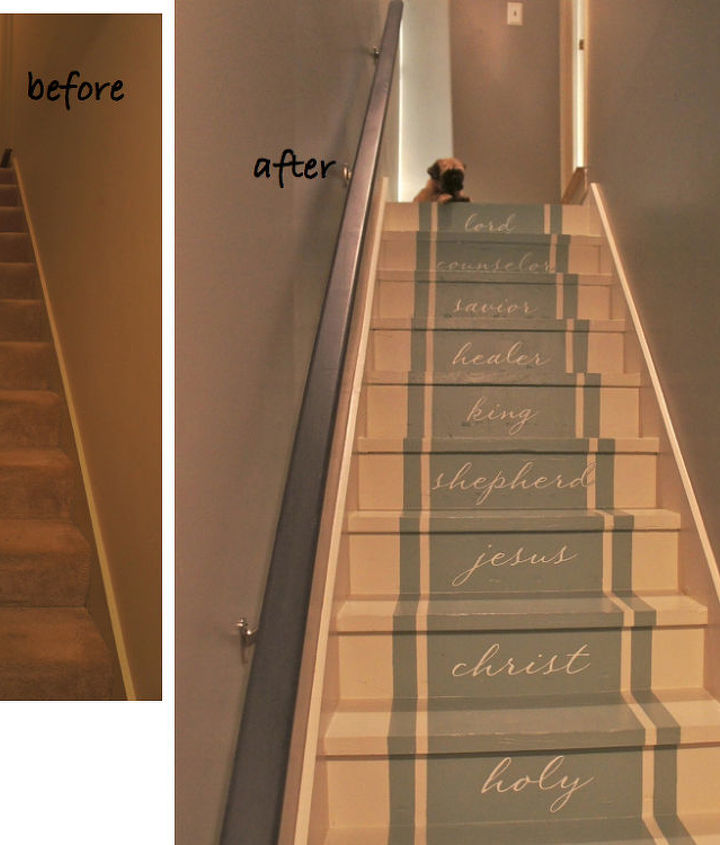 Before and After stairway to heaven by Bella Tucker Decorative Finishes.