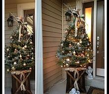 rustic christmas tree display, christmas decorations, seasonal holiday decor, The finished tree for our display