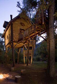crystal river tree house in colorado, outdoor living, funky tree house in Colorado