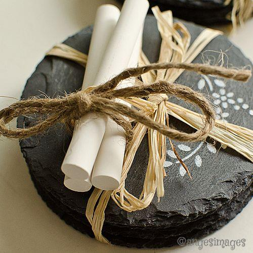 Package with a bit of chalk tied with twine for a chalkboard look.
