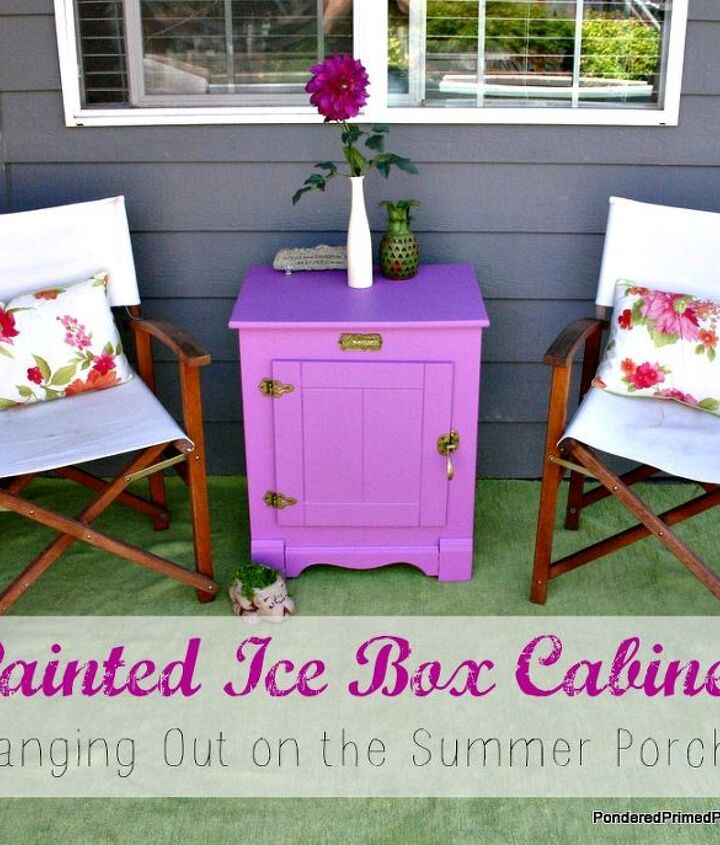 A fun cheerful color on this icebox is just what our summer porch needed to liven it up!
