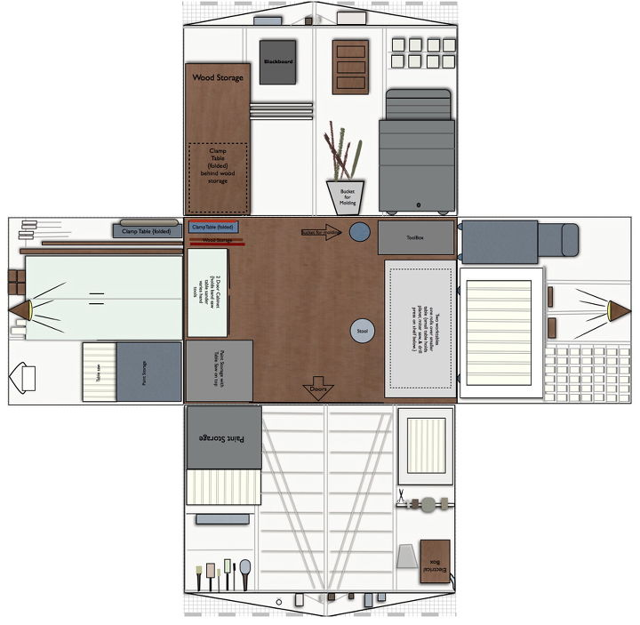 The drawing of the workshop plans.  To see more photos and details go the http://homastyle.com
