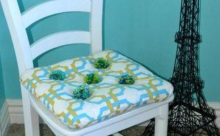 diy pom pom chair cushion, crafts, painted furniture, A fun and unique Pom Pom Chair Cushion