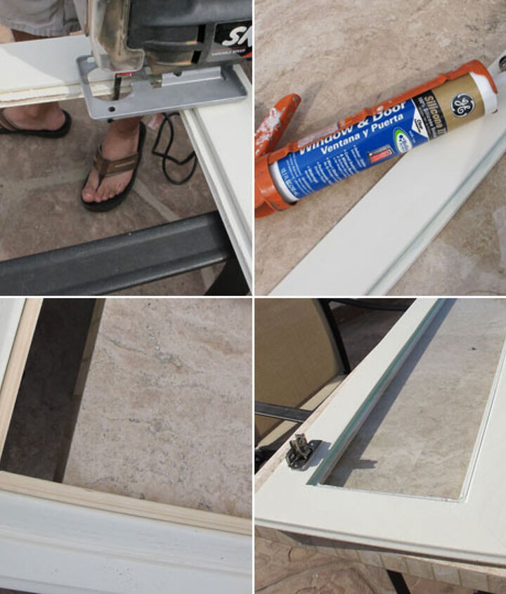 1-Remove the center panel 2-Add a very small piece of molding to hide all the rough cuts and paint 3-Run a single bead of clear silicone  4-Press the pane of glass into the groove, let it dry overnight.  Add a simple plastic frame clip