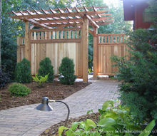 built in privacy custom built cedar screens added to pergola, landscape, outdoor living, Night lighting always enhances any landscape project The path lights help lead the way enjoy your evening in your wonderful backyard with a little privacy