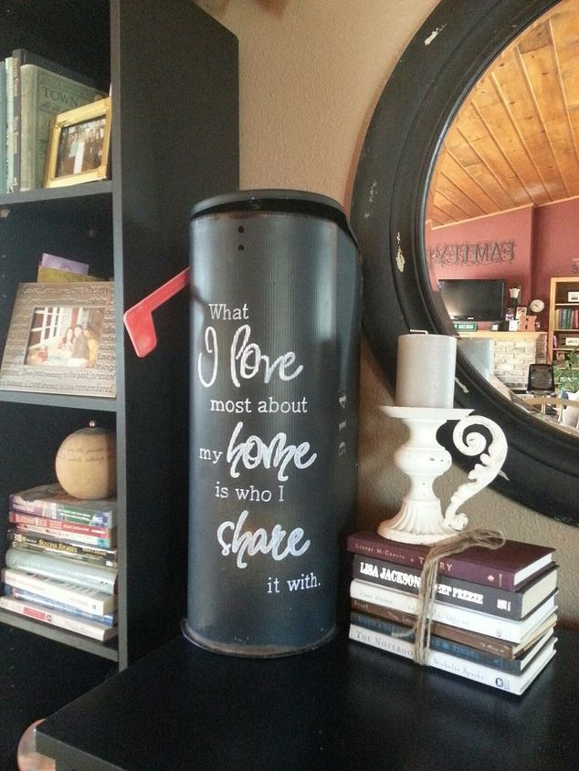 Had this old mailbox in storage. Added a favorite saying. LOVE. IT. Added some old rummage sale books and another candle holder.