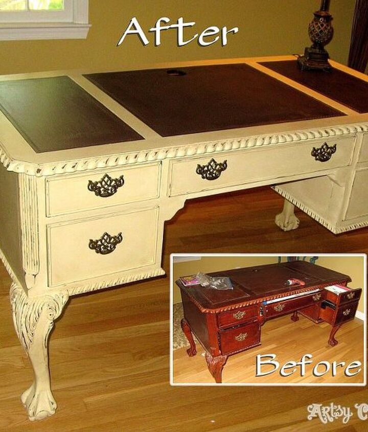 Beat up, tired old desk transformed with a little chalk paint for a bright new, fun decorative piece.