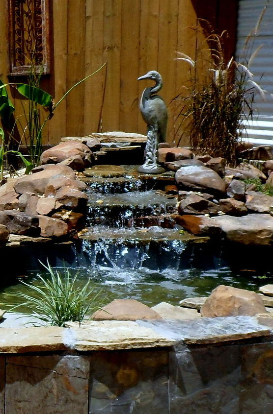 backyard pond with waterfall, ponds water features