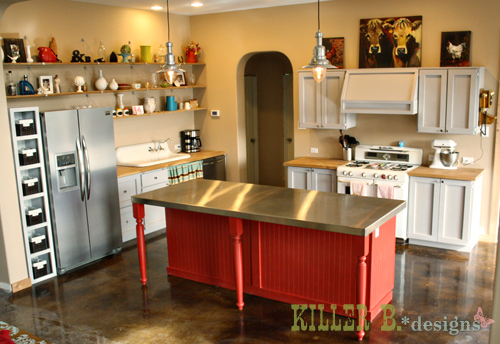 full kitchen view. The open shelving was made with reclaimed oak boards along with cable shelf brackets